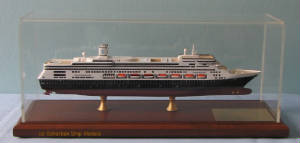 Amsterdam cruise ship model in case, photo