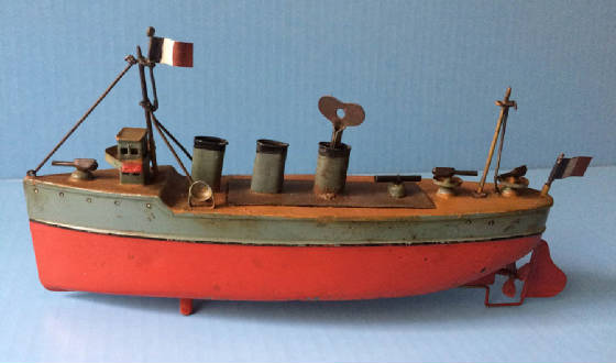 Bing  tin  toy boat, gunboat