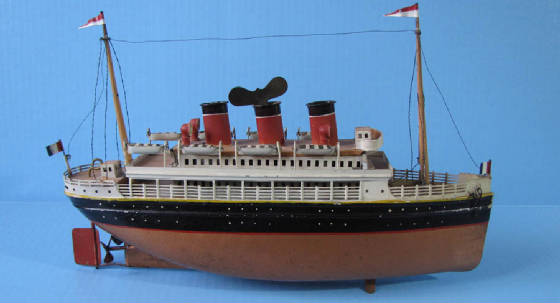 "Bing, tin clockwork toy ocean liner, 15"" long"