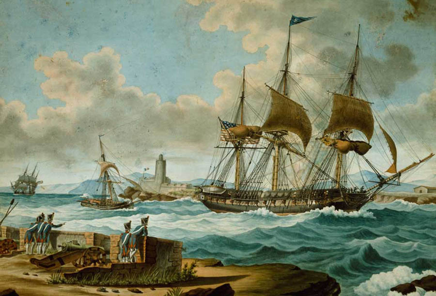 US navy ships entering  Marseilles, c1805