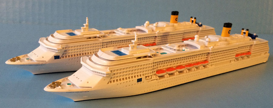 Costa Atlantica and Mediterrania 1250 scale models