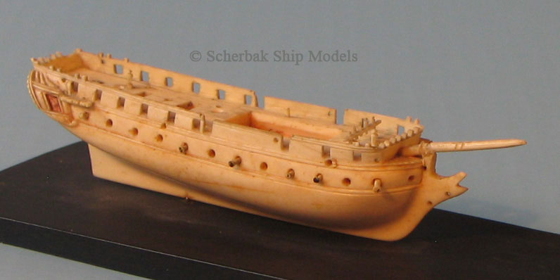 Dieppe ivory ship model, Napoleonic frigate