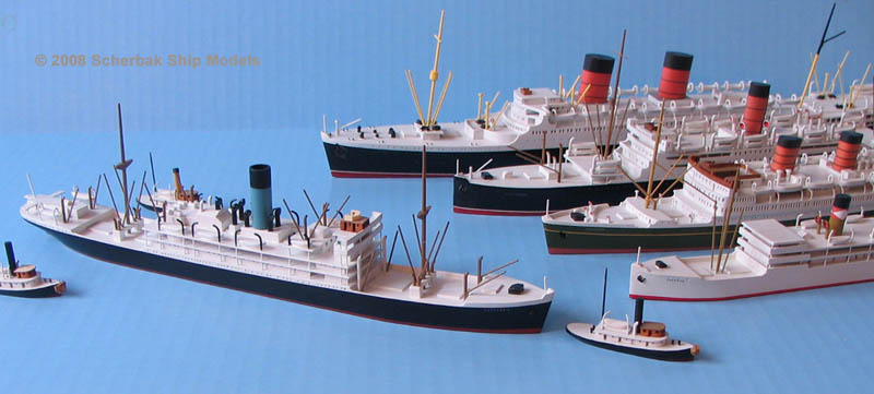 Ocean liner waterline models Scherbak 1:600 scale
