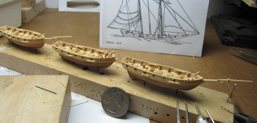 Boxwood sailng ship models in 1:384 scale